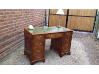 Vintage Antique Regency Style Yew Walnut Leather Topped Pedestal Writing Desk