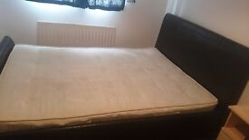 Kingsize sleigh bed frame faux leather dark brown chocolate