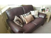 2 seater Brown Leather DFS Sofa and cushions