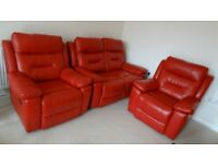 Leather Electric Recliner Sofa and Two Recliner Armchairs - Suit in Red Colour
