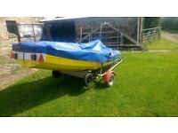 Wooden Clinker Boat, Sailing Dinghy, Like Mirror, Piggyback Road Trailer, Outboard Motor, Engine