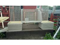 Double planters with trellis and Seat