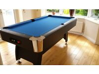 Pool table with chrome finish on pockets and legs.