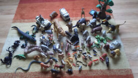Large selection of jungle animals incl some from Lion King - vehicles and figurines incl too