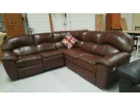 Large real leather corner sofa can deliver 07808222995
