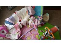 Girls baby bundle of clothes and equipment