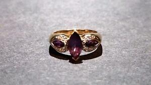 Ladies Diamond & Amethyst Gold Ring