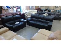 PRE OWNED 3 Seater Sofa + 2 Seater Sofa in Black Leather