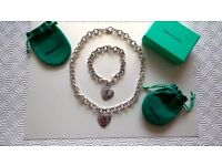 Beautiful Real Tiffany Silver Double Heart Necklace and Bracelet