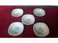 Vintage Midwinter (Cassandra Pattern) China Cereal Bowls x 5