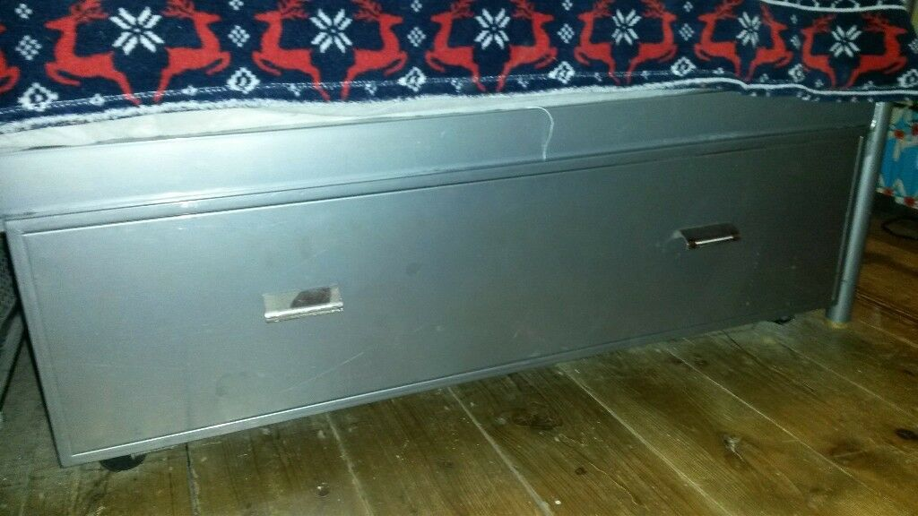 Pair Of Silver Underbed Storage Drawers On Wheels Brand New