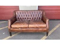 Stunning HALO BARKER & STONEHOUSE leather 2 seater chesterfield sofa £699