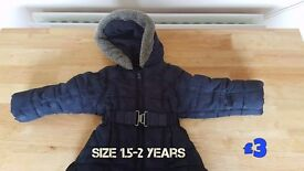 Girls Navy Coat with hood Size 1.5 - 2 years