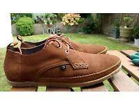 Farah men's Drape lo tan suede and crepe sole summer shoes RRP £75