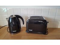 Nearly new Russell Hobbs black kettle and toaster