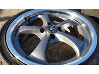 "4x 17"" Kosei Zurich (4x100) alloy wheels 205/40R17 tyres - vauxhall toyota honda mini volkswagen"
