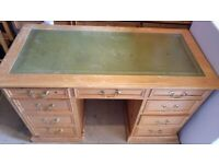 Pine captain's desk with drawers and leather top