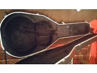 Acoustic guitar hard case, hard shell foam hiscox style with key