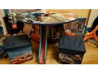 Disney cars table and 2 storage stools