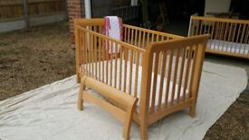 John Lewis Pine Cot Bed with mattress and Bumper