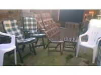 Six Garden Chairs, 2 Green Recliners with padded seating, 2 White chairs, 2 Heavy Hardwood
