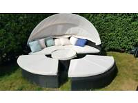 Rattan garden furniture longer day bed sofa sun roof table