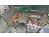 Garden/Balcony Wooden Furniture Set - Table, 2 Chairs and Bench