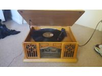 Old school record player with records