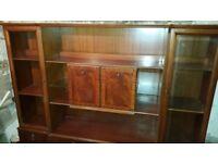Vintage Solid Oak Wood Two Piece Display/Storage Cabinet