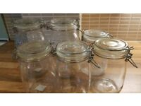 6 Glass Storage Jars With air tight lids