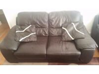 Black leather Sofa SET (3 IN TOTAL) Excellent condition Condition plus foot rest