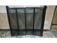 SOLID FUEL WOODBURNER FIRE SCREENS PAIR OF BI FOLDING WALL MOUNTED HANDMADE! ORNATE! SPARK! SCREENS!