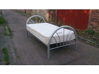 SINGLE 3' SILVER METAL BED FRAME WITH MATTRESS GOOD CONDITION FREE LOCAL DELIVERY