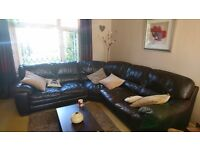 Six seater brown leather corner sofa. Good used condition although slight fading on one seat.
