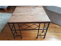 ** Two unusual oak & iron side / coffee tables **