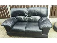 2x black leather sofas/FREE DELIVERY