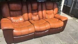 Orange RECLINER Leather 3 Seater Sofa
