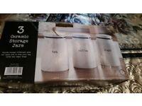 Brand new 3 ceramic storage jars