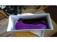 Kids/teen size 4 purple sparkly flat shoes. Brand new