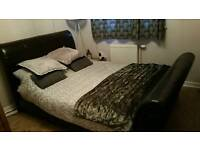 Beautiful Double chocolate Brown Sleigh bed frame