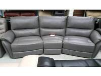 Real leather grey 4 seater carved +2 seater sofa