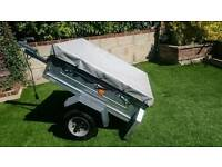 Erde 102 trailer with soft top cover