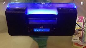 JVC DUAL AUDIO SYSTEM, IPHONE IPOD DOCKING STATION SPEAKER SYSTEM