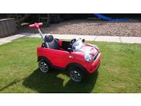 Red Mini Cooper push buggy for kids car bike scooter