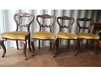 4 ANTIQUE VICTORIAN ROSEWOOD BALOON BACK DINING ROOM CHAIRS