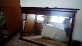 Overmantle mirror in dark veneer. Perfect condition. Perfect for up-cycling