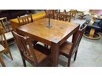 Rustic Hardwood Plank Top Table And 4 Chairs