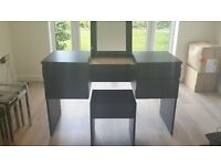 IKEA Black/Brown Dressing Table with Mirrorred Top, in Excellent Condition