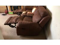 3 seater suede recliner sofa brown. Excellent condition. Collection only