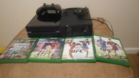 Xbox one, 4 games, 1 controller and a headset